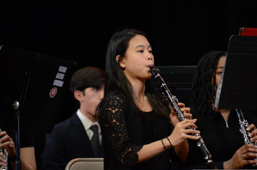 A student performs at the Winter Concert.