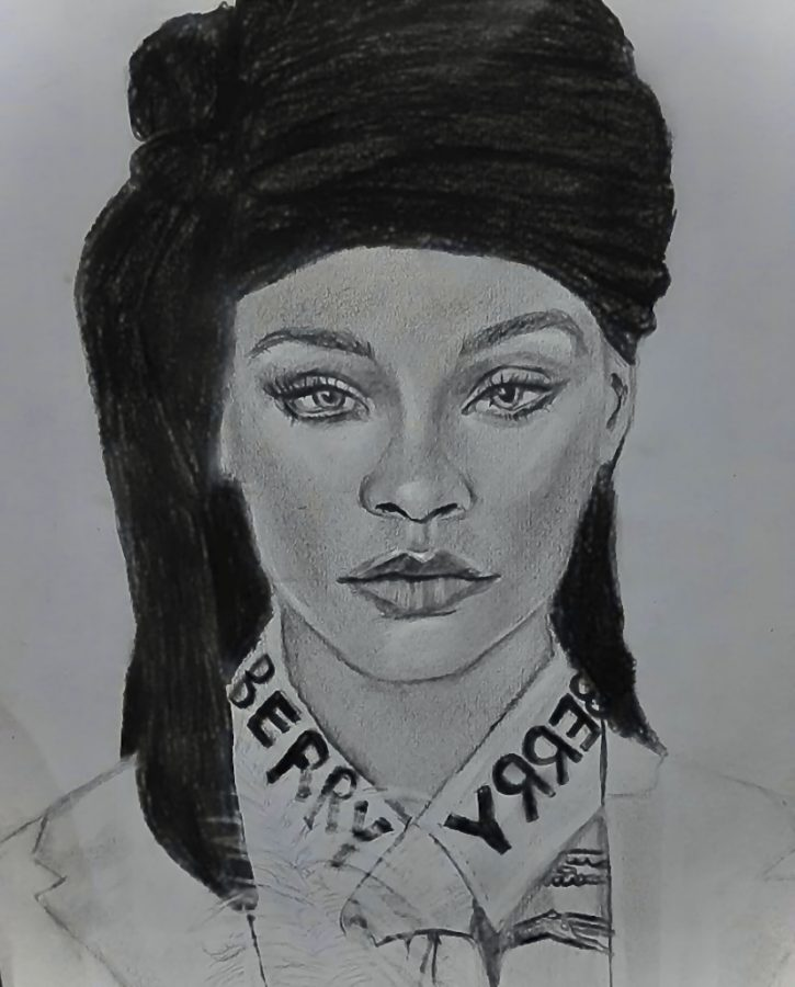 Artist Muhammad Saad sketched Rihanna in a durag for the May 2020 issue of British Vogue.