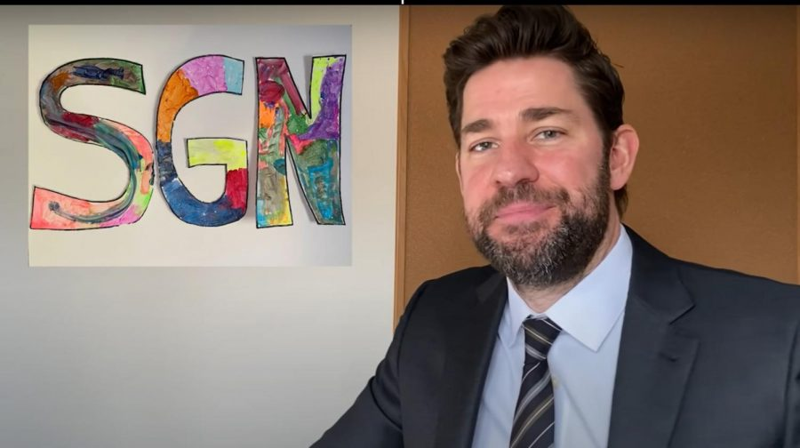 John Krasinski started his news show, 'Some Good News,' with the aim to spread positivity. Here, he is about to do a segment in which he surprises a fan with a zoom call.