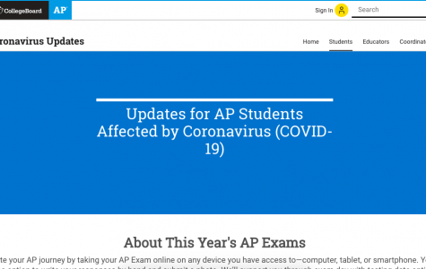 """Here is a screenshot from the College Board's website that reads """"Updates for AP Students Affected by Coronavirus (COVID-19)."""""""