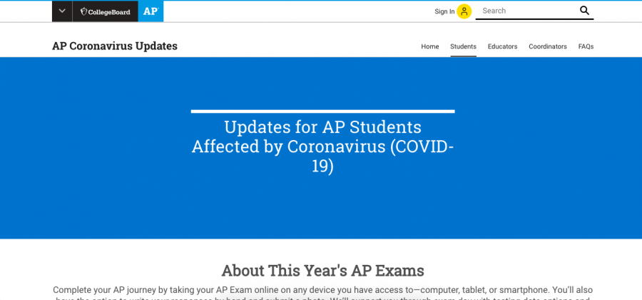 "Here is a screenshot from the College Board's website that reads ""Updates for AP Students Affected by Coronavirus (COVID-19)."""