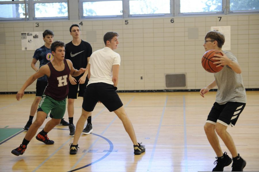 Boys basketball practicing.
