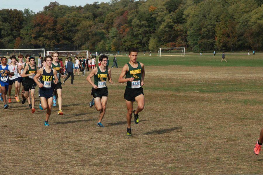 Boys running cross country.