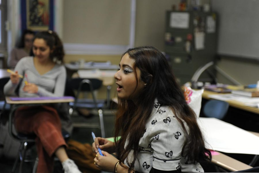 Eshika Talukder '20 voices her opinion during a NOW meeting.
