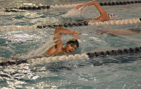 Varsity Swimming players compete in the pool during a meet.