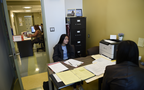 A Bronx Science student works with her guidance counselor on her college application process in the weeks before schools closed on March 16, 2020 due to the Coronavirus Pandemic. Now students meet with their counselors through virtual office hours via Zoom.