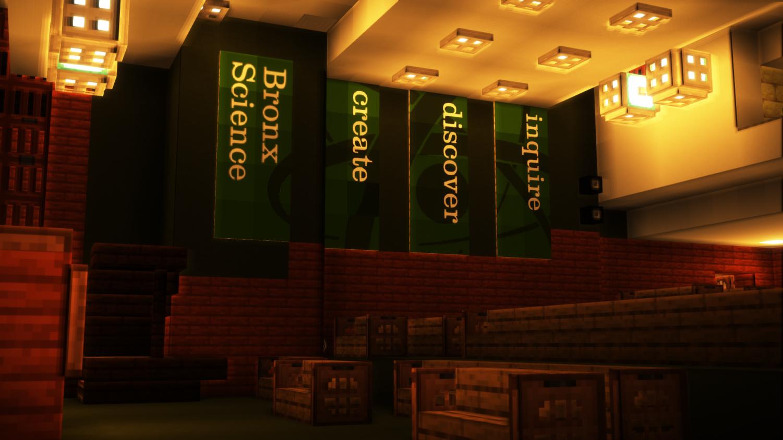 The Bronx Science auditorium in Minecraft is a true simulacrum of the real auditorium.