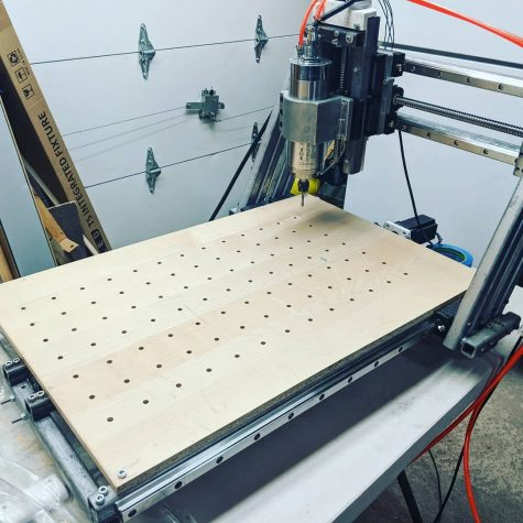 The final version of Ammar Barbees homemade CNC (Computer numerical control) milling machine.