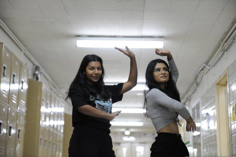 Mithila Dey '21 and Thahiya Hassan '21 practice a dance during NASHA.