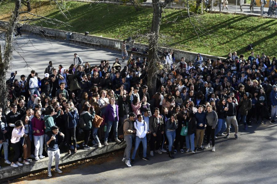 Hundreds of twelfth graders gather together in the courtyard for the Senior Scream!
