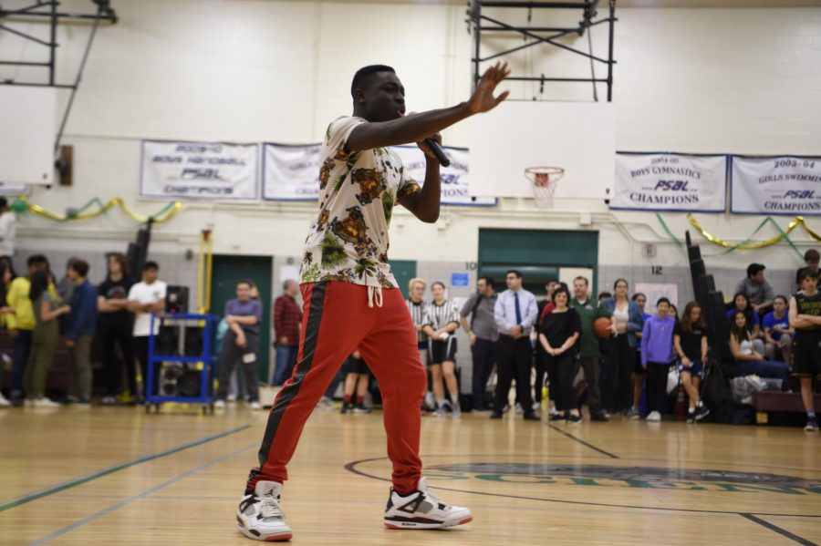 Babou Gaye '20 performs his rap song during Bronx Science's Annual Homecoming.