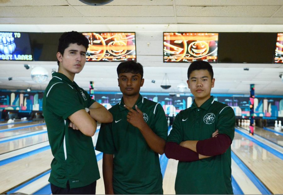 Members of the Boy's Bowling team pose for a picture in between rounds.