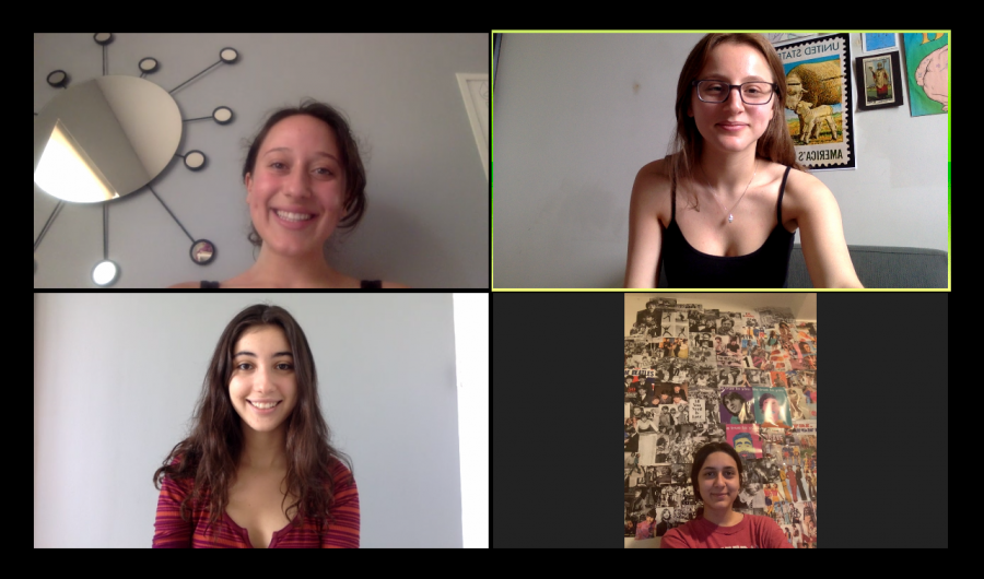 During an Editorial Zoom meeting, the newspaper Editor-in-Chiefs plan out the June 2020 Issue of The Science Survey. On the top row are Sofia Mahairas 20 and Leann Goldberg 20, and on the bottom row are Celeste Abourjeili 20 and Daniela Castro 20 (not pictured are Cameron Leo 20 and Kaitlyn Romanger 20).