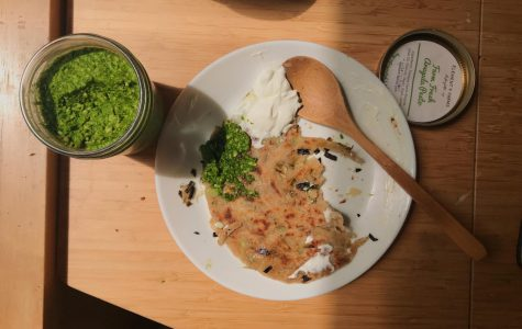 Farm fresh pesto and thick Greek yogurt make a delicious but unorthodox topping for homemade scallion pancakes. This is somewhat heretical in the world of Chinese cuisine, but quarantine cooking is all about creativity and fun, is it not?