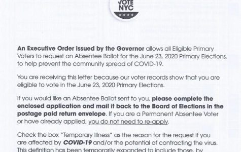This notice was sent to New York City residents by the Board of Elections in the city of New York. Primary elections are being conducted through absentee ballots, via mail, in order to curb coronavirus transmission while voting.