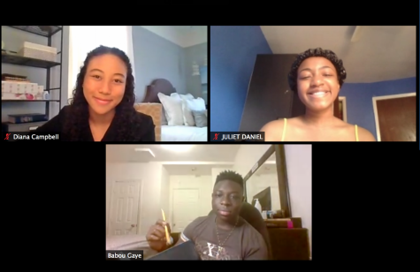 Babou Gaye '20, Juliet Daniel '21, and Diana Campbell '22 meet during a Zoom call. They are all part of the newly formed Anti-Racist Coalition that will be actively working to diversify curricula, to form a Student Diversity Committee and Racial Justice Board, and to work on restorative rather than disciplinary justice.