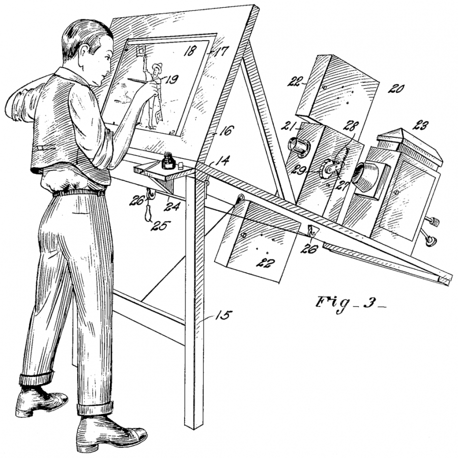 The original patent drawing of the rotoscope from Fleischer's patent, circa 1915.