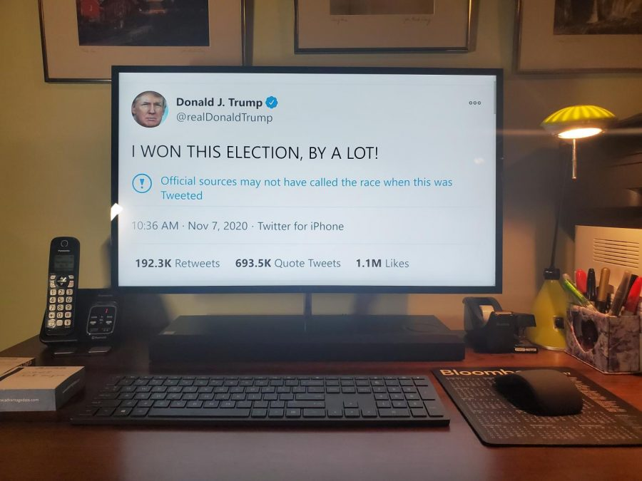 "In this recent tweet, Donald Trump falsely claimed that he won the 2020 presidential election. Trump has become increasingly unhinged on Twitter since the Presidential Election was called for Joe Biden. Ben Zakharov '21 described Trump's recent tweets as ""dangerous for the future of our democracy and election systems."
