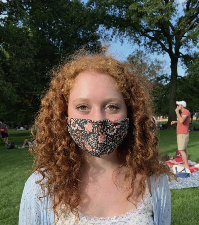 Even during in the warmer fall weather, Staff Reporter Alexandra Zwiebel '22 was still wearing her mask outside in Central Park, making it seasonally in fashion!