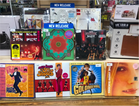 The October 24th, 2020 Record Store Day releases are displayed at the front of Newbury Comics, ranging from special pressings of classic bands like