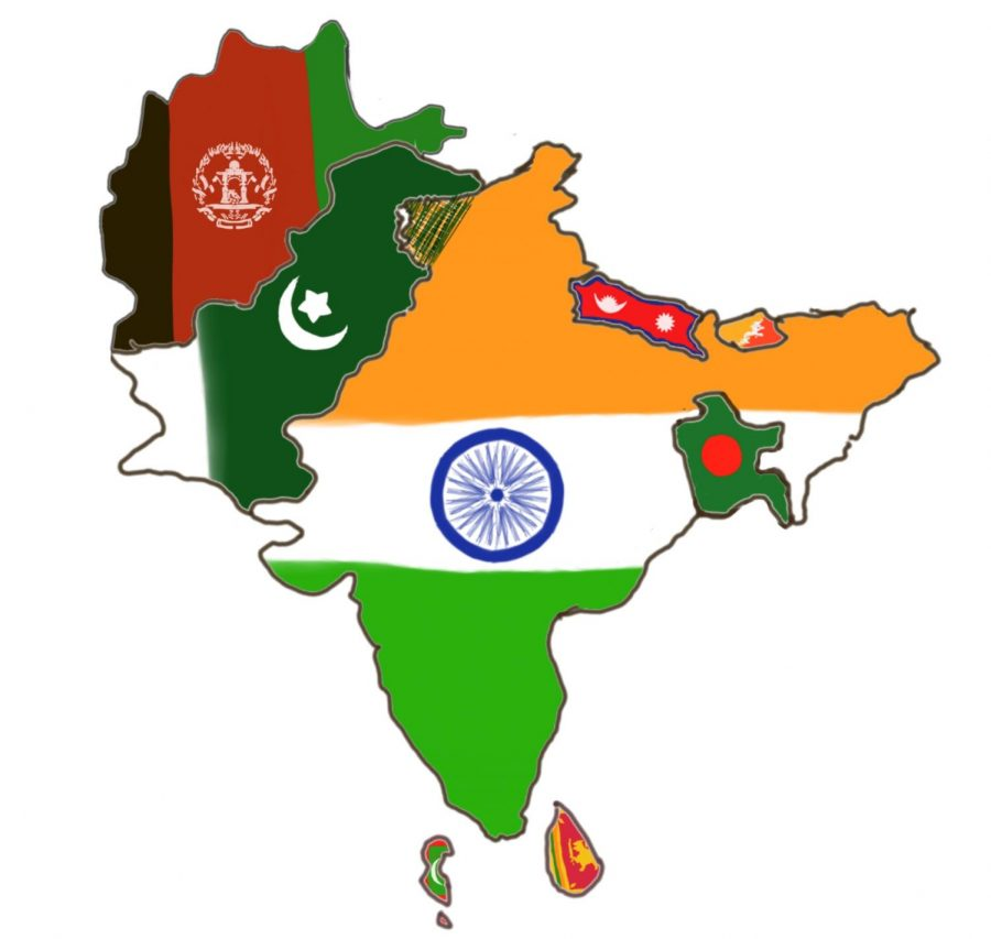 The countries of South Asia in their national colors: Afghanistan, Bangladesh, Bhutan, India, Maldives, Nepal, Pakistan, and Sri Lanka.