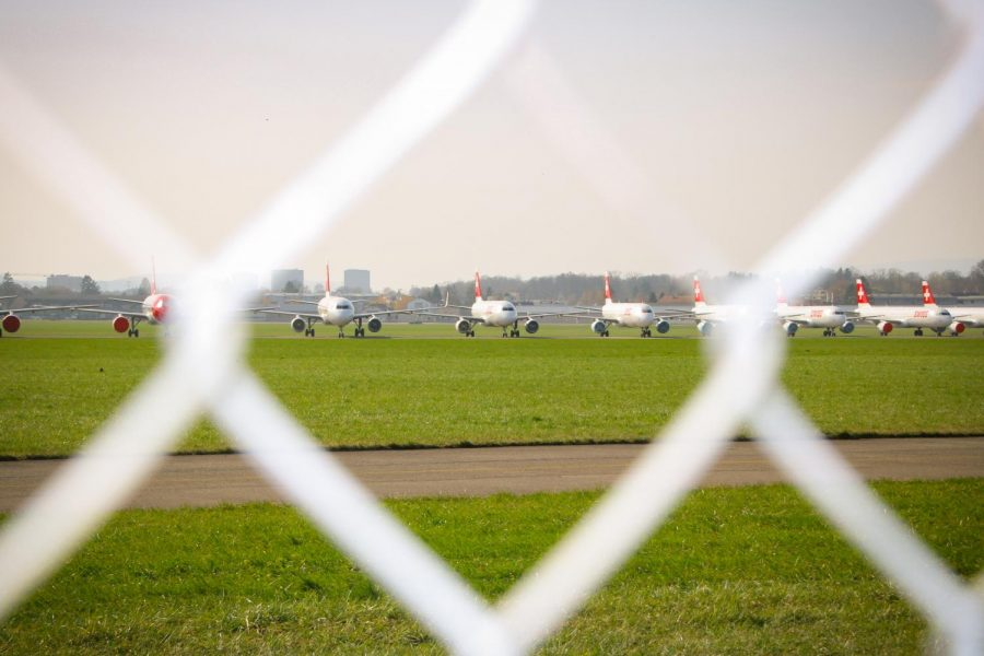 Pictured are grounded Swiss planes during the Coronavirus pandemic at the military airport of Dübendorf, Switzerland.