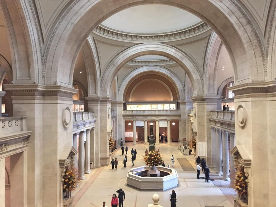The Metropolitan Museum of Art's lobby is unusually empty for a Saturday afternoon. With timed tickets now required and one fourth of the usual museum capacity enforced, due to social distancing restrictions during the Coronavirus pandemic, the Met is now never crowded.