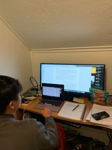 As a result of staying home for this semester, Mitchell Leung, a current sophomore at Cornell, spends around 10 hours each day sitting at his desk to complete his schoolwork.