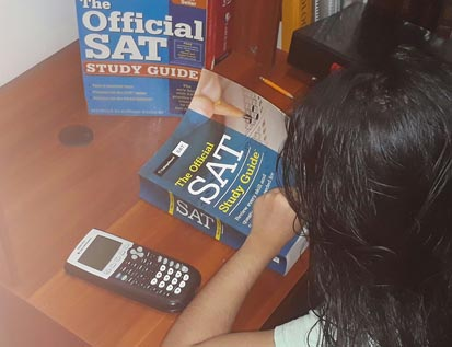 Samia Sultana '21 studies for her SAT exam, which she took in October 2020.