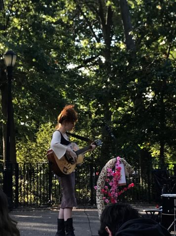 Clara Joy plays a socially-distanced concert in Tompkins Square Park.