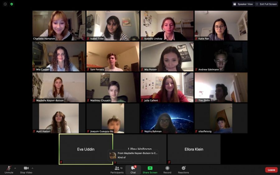 During an all-staff Teens for Press Freedom meeting over Zoom, members discuss new ways to grow their letter writing campaign.