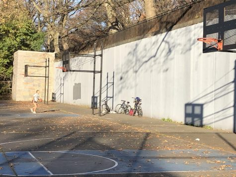 A row of three netless hoops at the 111th Street courts in Riverside Park in Manhattan illustrate the poor quality of net maintenance that is to be found at some basketball courts around New York City.