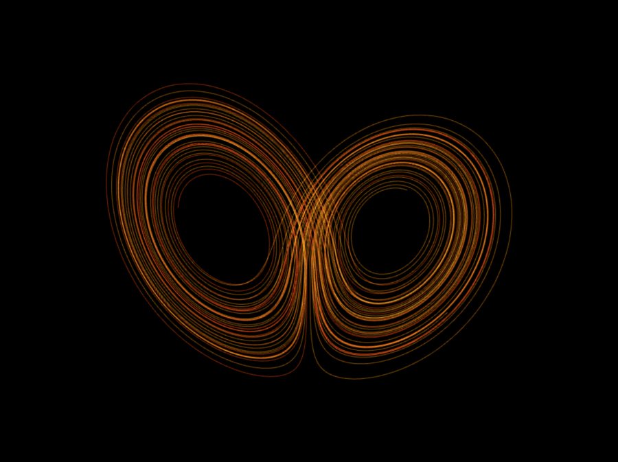The Lorenz Attractor is extremely sensitive to initial conditions. A negligible change in the starting point of one of its orbiting particles will change its trajectory entirely, but each set of initial conditions generates only one unique graph. This illustrates the apparent paradox that the universe can be both deterministic and wildly unpredictable.