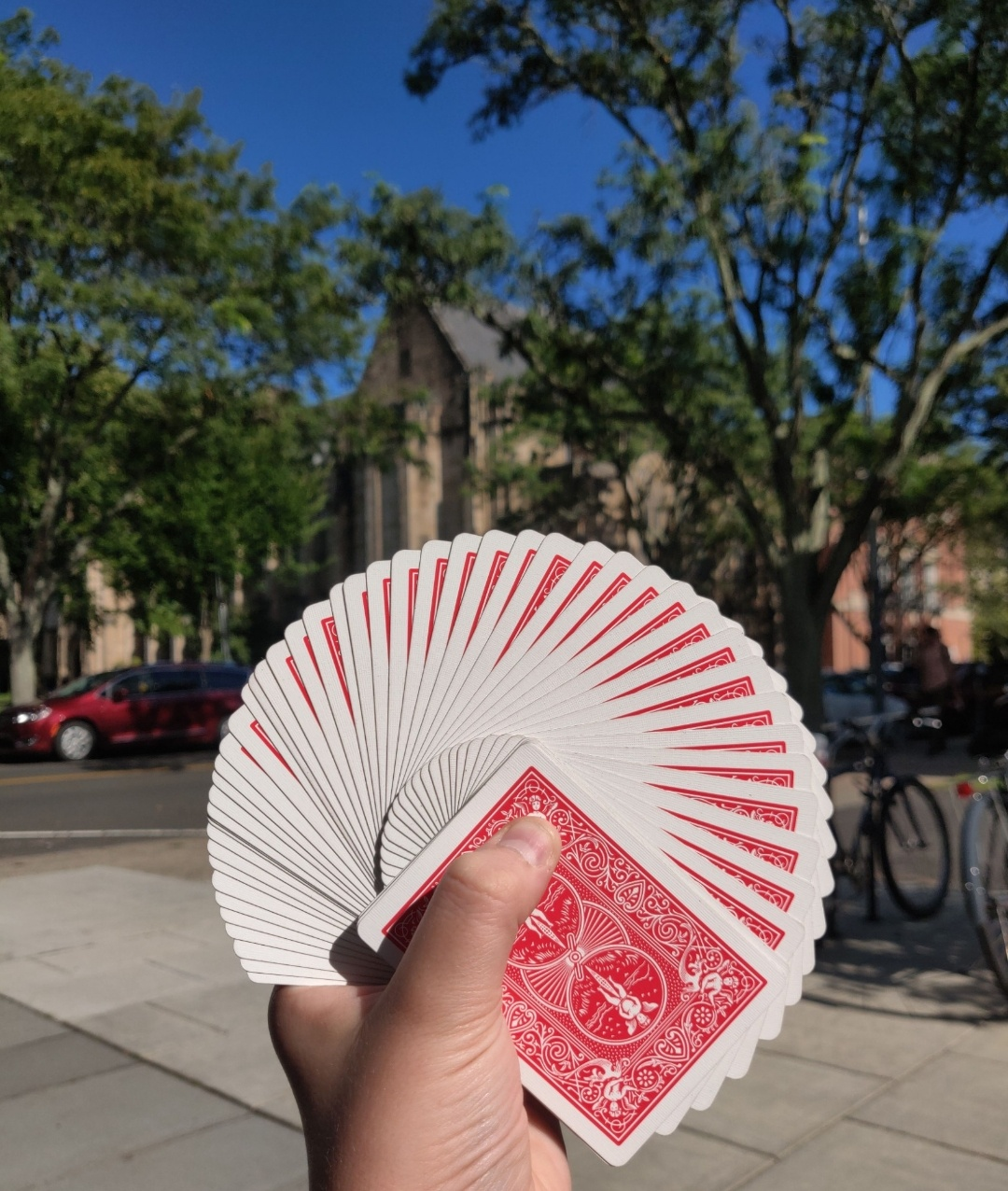 """This is a """"thumb fan"""" display of cards, taken near the Beinecke Rare Book & Manuscript Library in New Haven, Connecticut, which holds the Cary Collection of Playing Cards."""