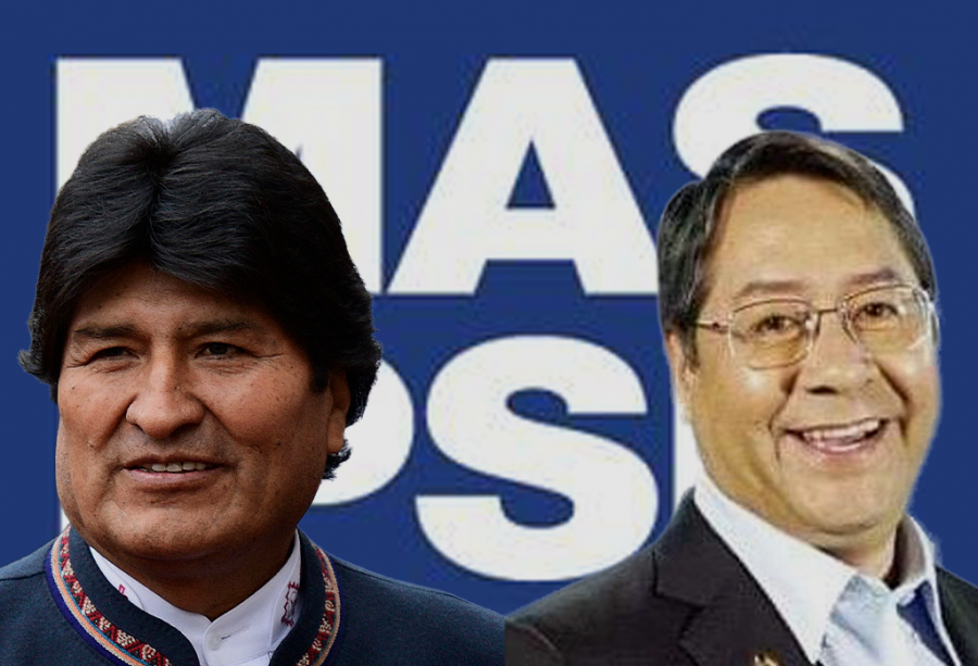 The leading figures in the MAS political party are Party Leader Evo Morales (at left) and President Luis Arce (at right).