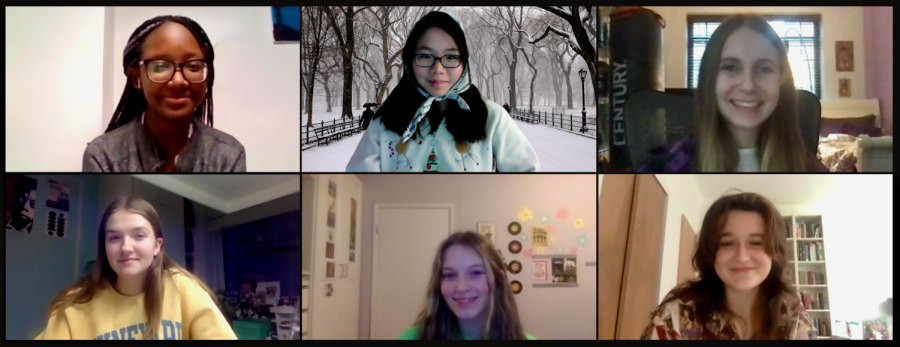 Some of the Editors-in-Chief of the 2020-2021 'The Science Survey' meet via Zoom to plan out the next issue. Together, they wrote this January 2021 advice column.  Pictured clockwise from top left are Jamie Lee Nicolas '21, Montana Lee '21, Logan Klinger '21, Edie Fine '21, Julia Sperling '21, Kate Reynolds '21.