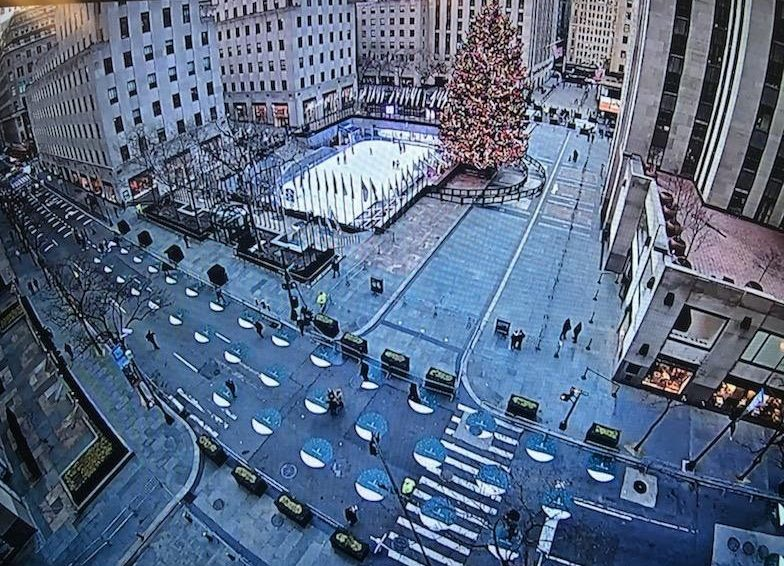This overhead view of a deserted Rockefeller Center in December 2020 looks vastly different from previous months of December, when thousands of visitors would flock to this tourist attraction daily.