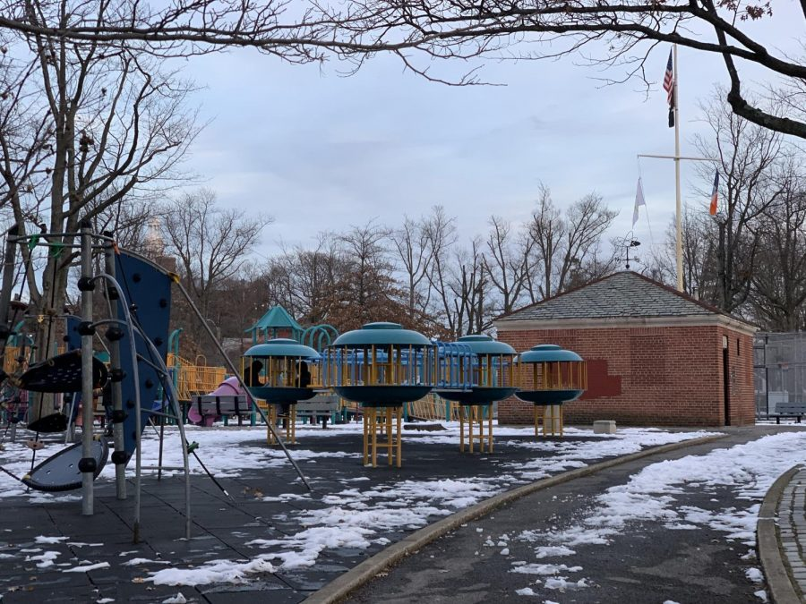 A park next to a New York City public school in Queens would normally be bustling with students playing. Currently, it is entirely quiet, as students are learning remotely from home.