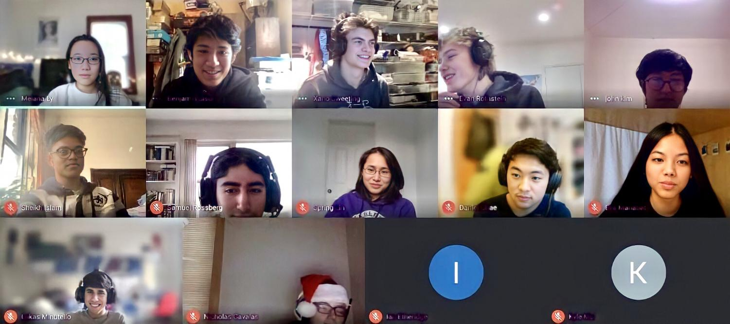 A construction meeting takes place on Zoom, where seasoned Robotics members brainstorm, discuss issues with one another, and ask and answer questions about their robot design.