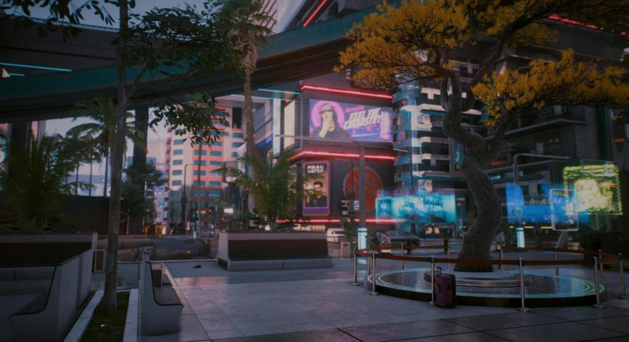 The stunning and immersive nature of 'Night City' creates beautiful views of the futuristic city.