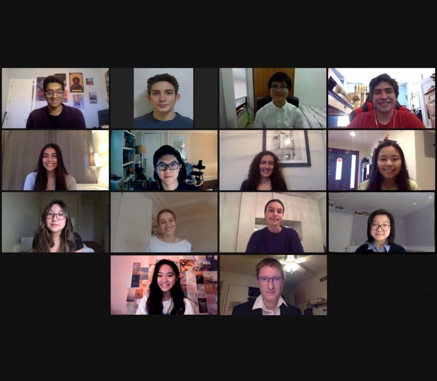 Here are our Regeneron semifinalists from left to right, top to bottom: Arjun Mazumdar '21, Noah Getz '21, Eric Chen '21, Alexander Chasteen '21, Maya Chari '21, Benjamin Chan '21,  Raiya Dhalwala '21, Julie Lin '21, Katelyn Lee '21, Clara Barschdorff '21, Aerin Mann '21, Kelly Liu '21,  Allison Pascual '21 and Michael Batavia '21.
