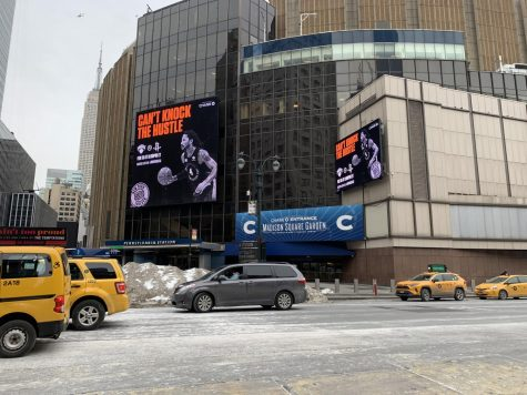 "Advertisements outside the Knicks home arena, Madison Square Garden, display the message, ""Can't Knock The Hustle,"" a nod to how hard the Knicks have been playing this season."