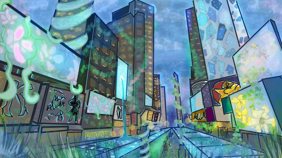 "This is a visual interpretation of ""HiberNation"" written by Arjun Mazumdar '21. The painting is inspired by various scenic descriptions in the poem, specifically the last stanza that states, ""Around us, life persists loudly / Verdant scenes spill into the empty stages unabashed"" (20-21). The setting is in Times Square in Manhattan, where nature reconquers its lost self and clings onto modernity."