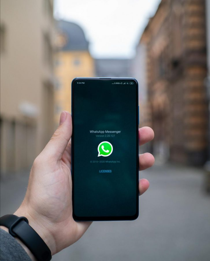 WhatsApp's opening screen only shows Facebook for a second before you enter into the 'Chats window'; here, the Facebook logo is not visible.