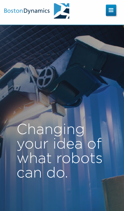 """The homepage of Boston Dynamics website and its motto: """"Changing your idea of what robots can do."""""""