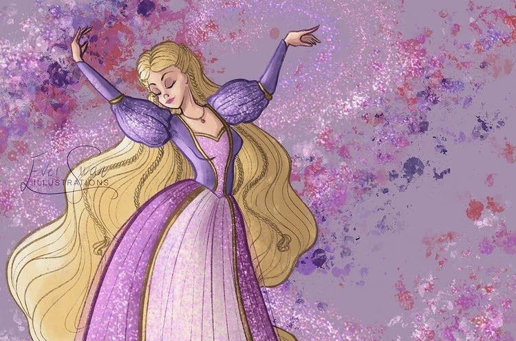 "Here is the third piece in Ever Swan Illustration's trio of Barbie artworks, showcasing ""Barbie as Rapunzel."""