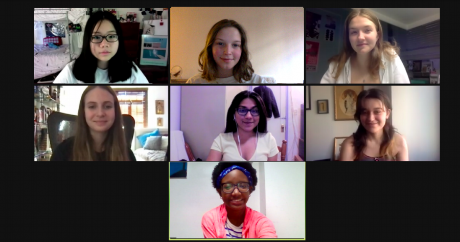 Pictured are some of the Editor-in-Chiefs of 'The Science Survey' discussing this advice column during a Zoom meeting. Pictured from rom left to right, top to bottom are Montana Lee '21, Julia Sperling '21, Kate Reynolds '21, Logan Klinger '21, Samama Moontaha '21, Edie Fine '21, and Jamie Lee Nicolas '21