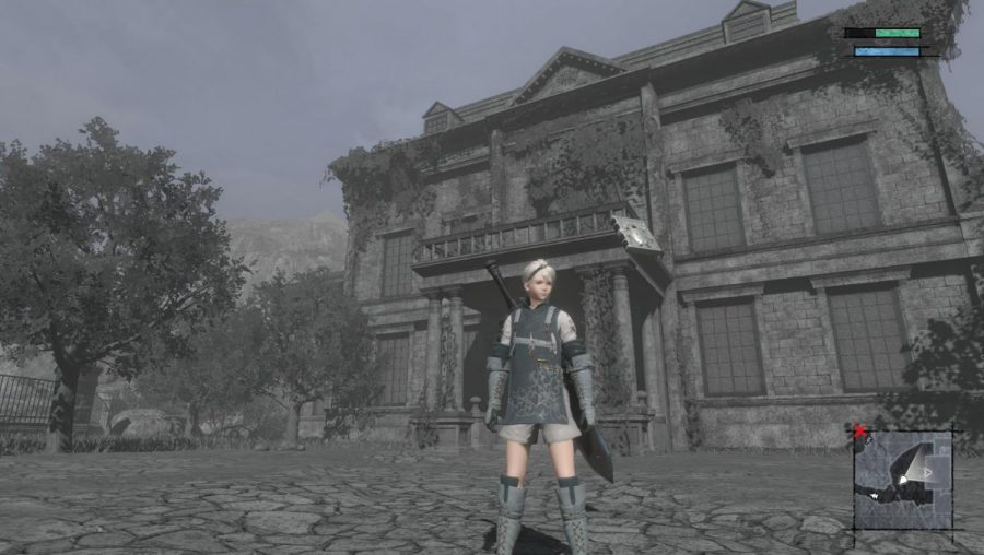 The main character of 'NieR Replicant' stands in front of a different setting, perfectly setting up the darker atmosphere of the story.