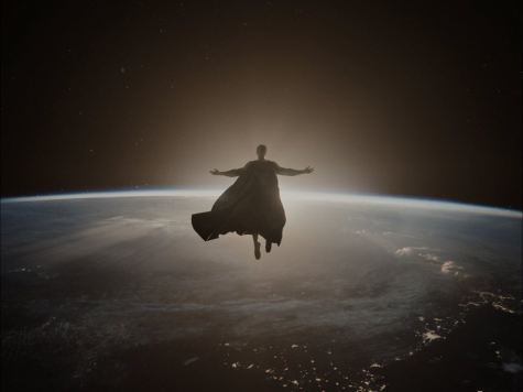 A shot of Superman in a Jesus-like pose from Zack Snyders Justice League (2021), symbolizing the resurrection of God.