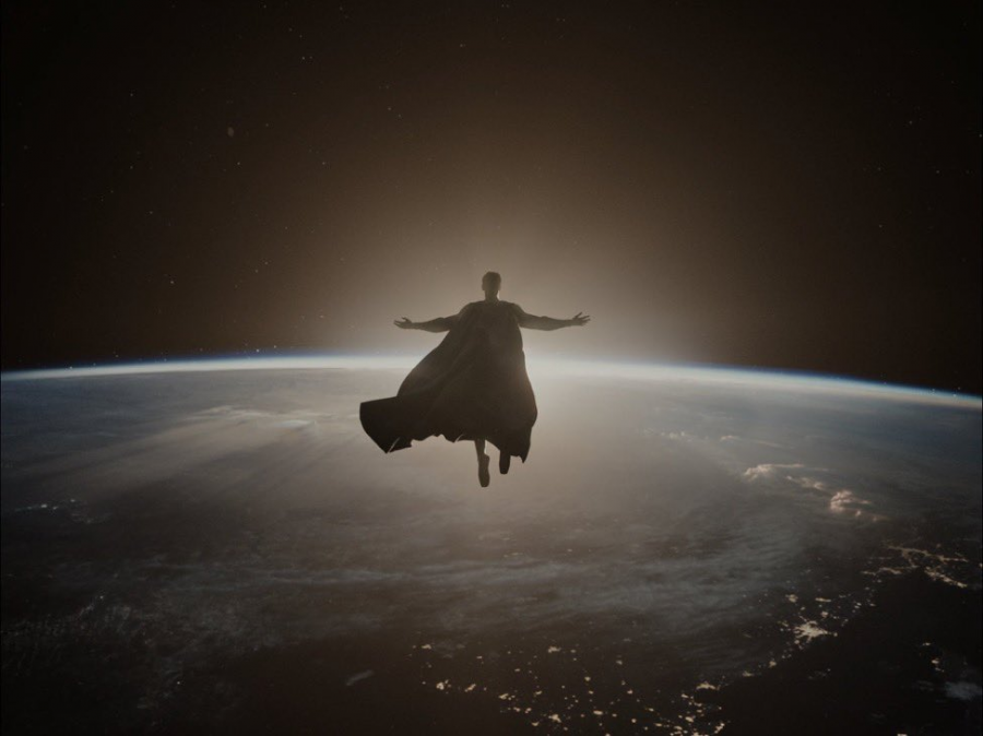 A shot of Superman in a Jesus-like pose from Zack Snyder's Justice League (2021), symbolizing the resurrection of God.